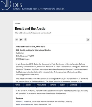 453282d06a97 Richard Powell is speaking on 30 November 2018 in Copenhagen at the Danish  Institute for International Studies about the UK s new  Defence Arctic  Strategy .