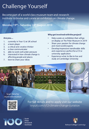 8469294f5 The Scott Polar Research Institute and Selwyn College Cambridge are excited  to announce a unique opportunity for Year 12 Students to curate an  exhibition ...
