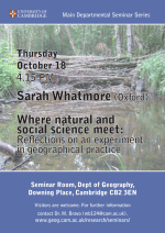 Professor Sarah Whatmore, Departmental Seminar, October 18, 4.15pm