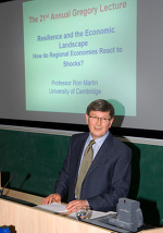 Ron Martin gives the Annual Gregory Lecture