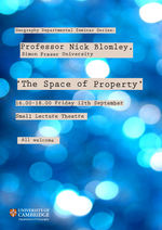Prof. Nick Blomley Seminar 4pm Friday 12th September