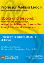 Geography Seminar Series: Prof. Melissa Leach, Institute of Development Studies (Feb. 5th)