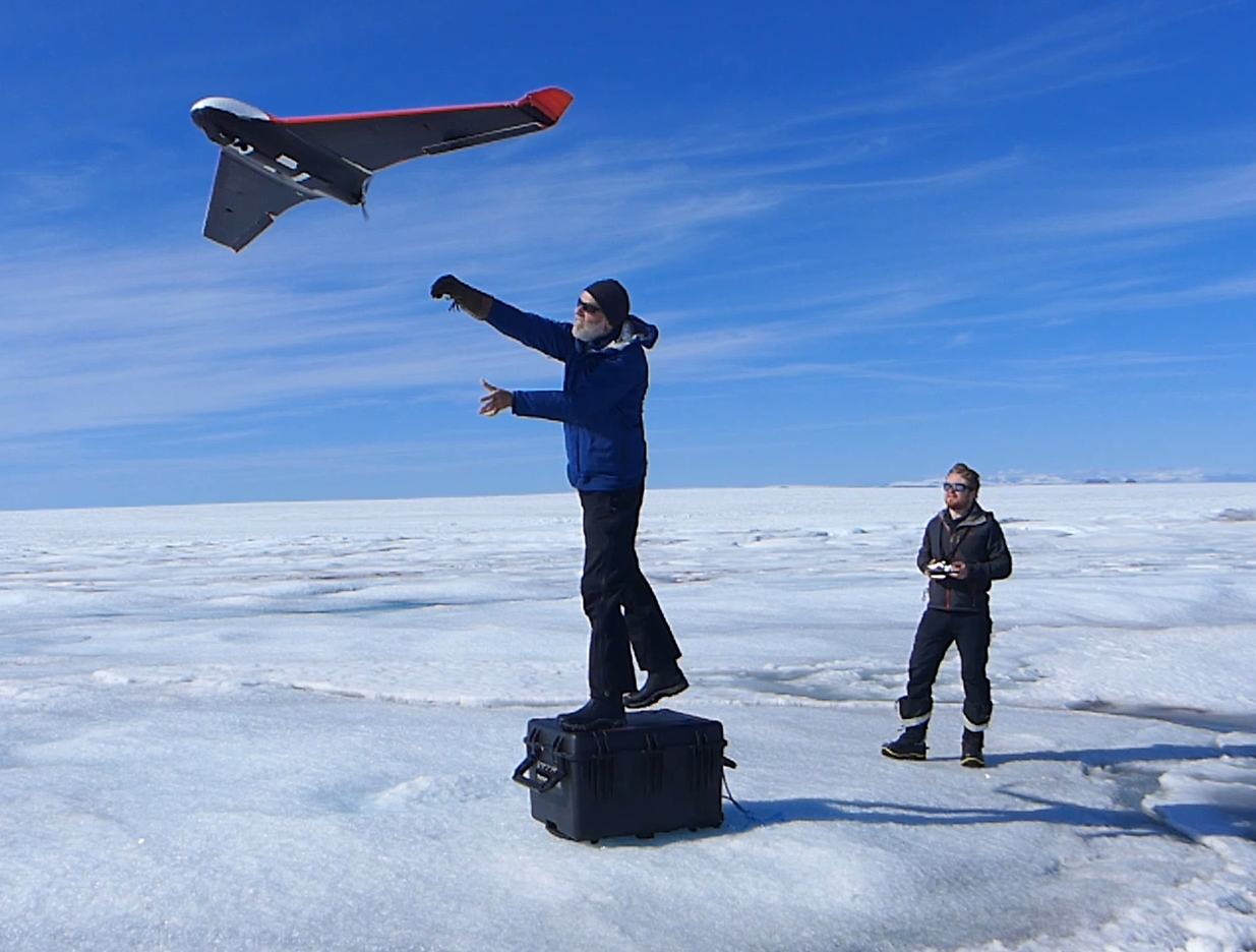 UAV launching on the Greenland Ice Sheet (photo: Poul Christoffersen)
