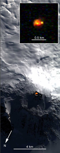 Thermal emission from Erebus' lava lake